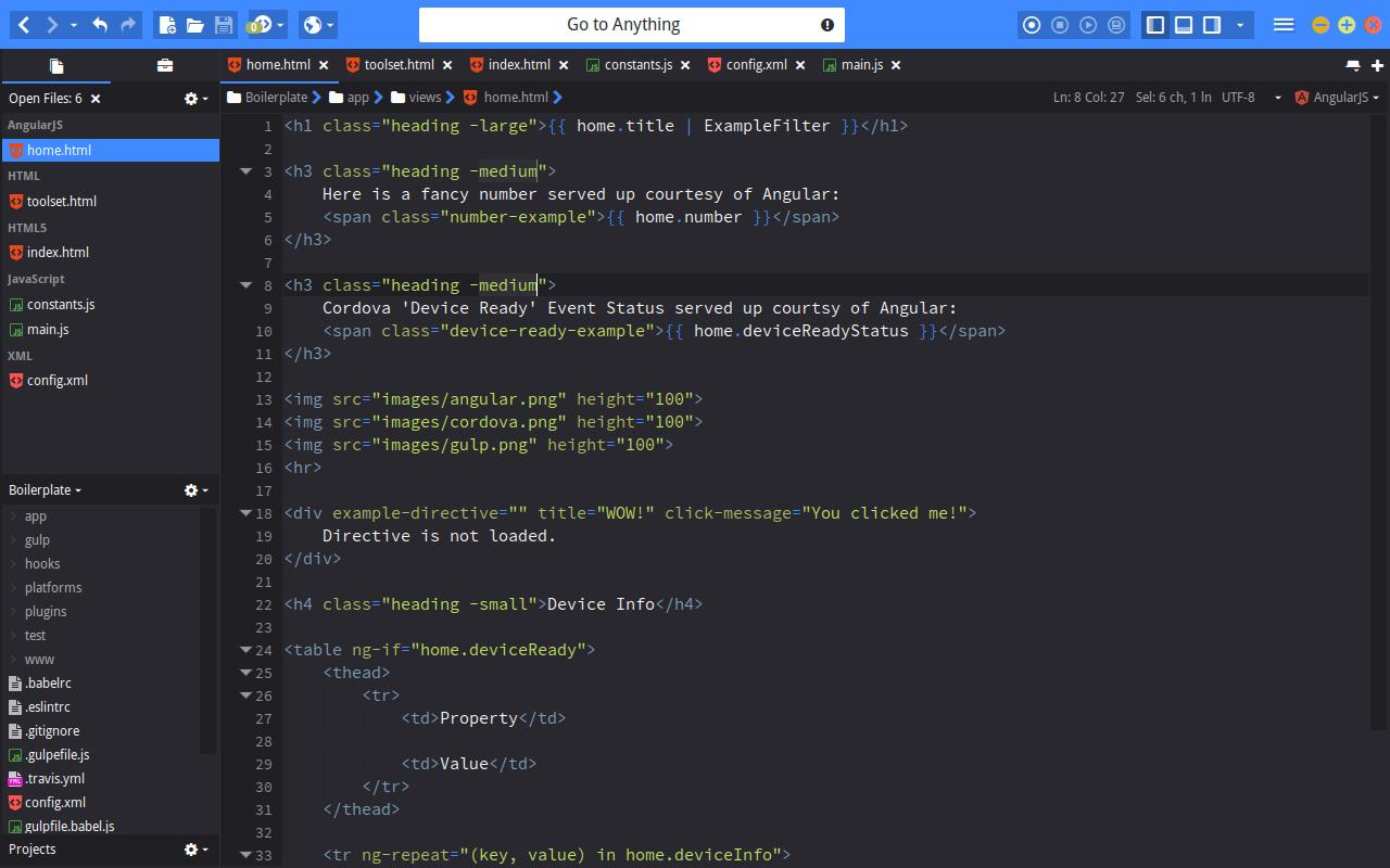 L'interface du logiciel Komodo